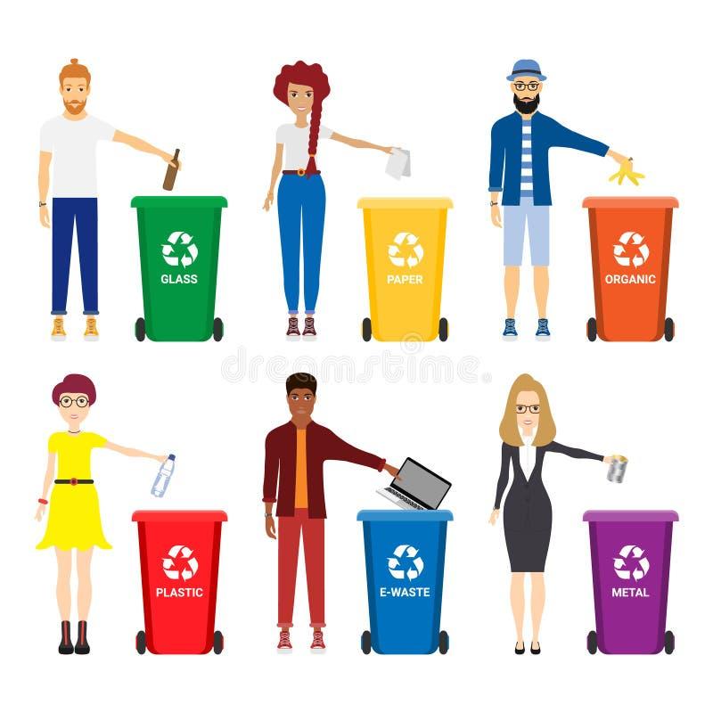 Ilustração do vetor dos povos que reciclam o lixo ilustração do vetor