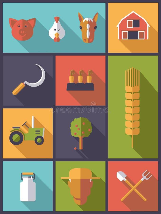 Ilustração do vetor dos símbolos da agricultura ilustração royalty free