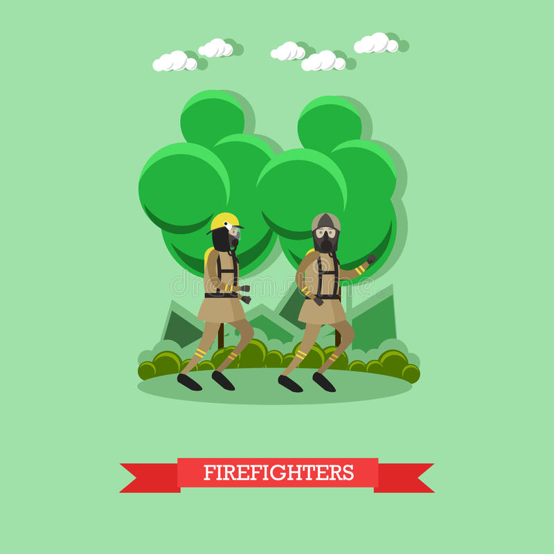 Ilustração do vetor dos sapadores-bombeiros no estilo liso ilustração stock