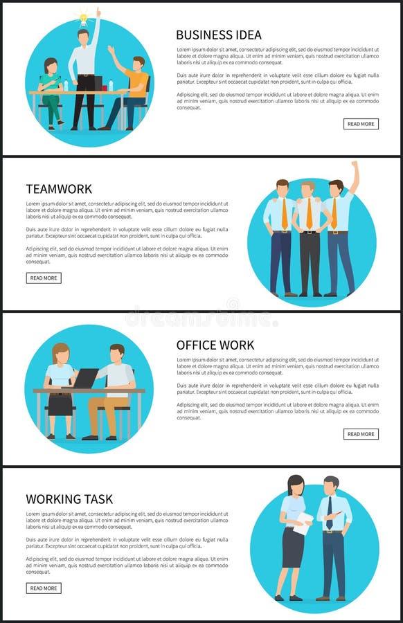 Ilustração do vetor dos trabalhos de equipa do escritório da ideia do negócio ilustração stock