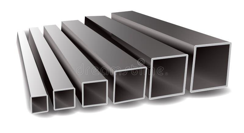 Ilustração do vetor dos tubos do quadrado do ferro em um fundo branco ilustração do vetor