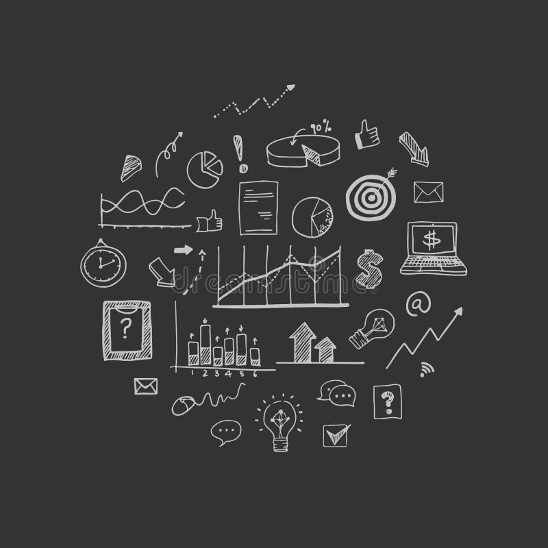 Ilustração do vetor: Elementos da garatuja da tração da mão dos conceitos sobre o negócio ilustração royalty free