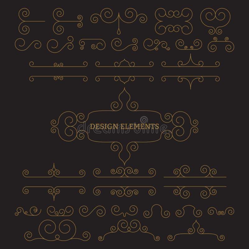 Ilustração do vetor Elementos lineares luxuosos do projeto ilustração do vetor