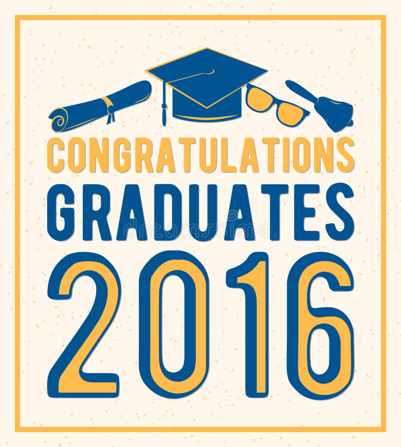 A ilustração do vetor em felicitações claras do fundo gradua a classe 2016 de, projeto retro da cor para a graduação ilustração stock