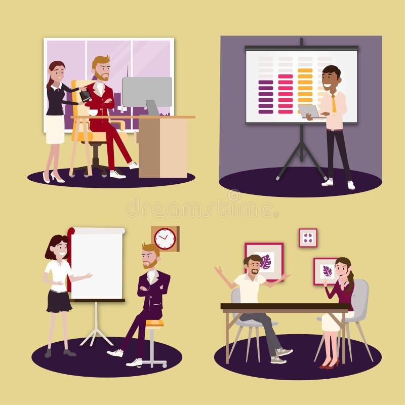 Ilustração do vetor em um estilo liso de mulheres, de homens e de chefe dos trabalhadores da equipe do escritório para negócios n ilustração royalty free