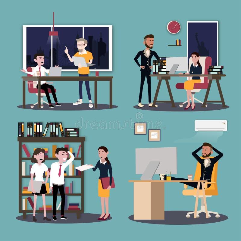 Ilustração do vetor em um estilo liso de mulheres, de homens e de chefe dos trabalhadores da equipe do escritório para negócios n ilustração stock