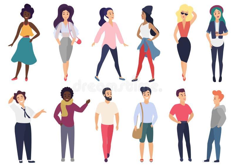 Ilustração do vetor em um estilo liso do grupo de atividades estilizados diferentes dos povos ajustadas ilustração stock