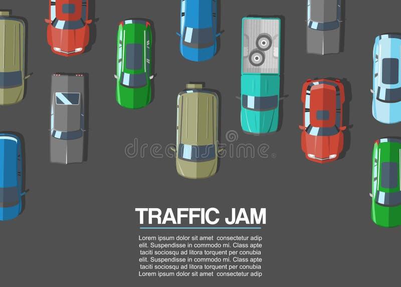 Ilustração do vetor do engarrafamento e do transporte urbano Opinião superior da estrada com estradas muitos carros e veículos di ilustração do vetor
