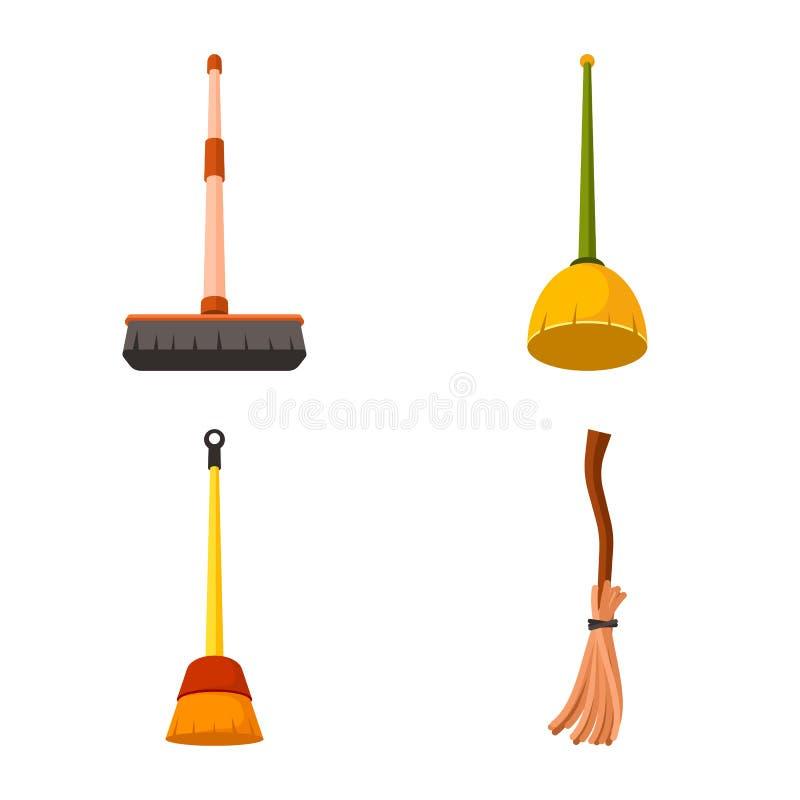 Ilustração do vetor do equipamento e do logotipo dos trabalhos domésticos Ajuste do equipamento e do ícone limpo do vetor para o  ilustração stock