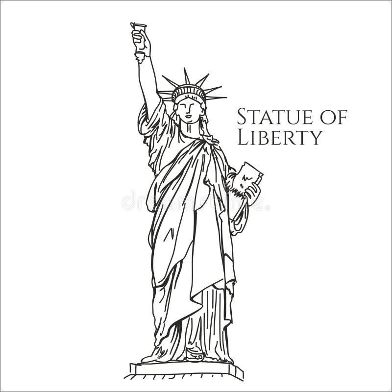 Ilustração do vetor do esboço de América da estátua da liberdade ilustração stock