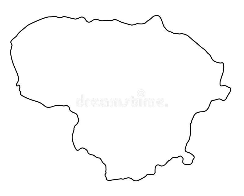 Ilustração do vetor do esboço do mapa de Lituânia ilustração royalty free