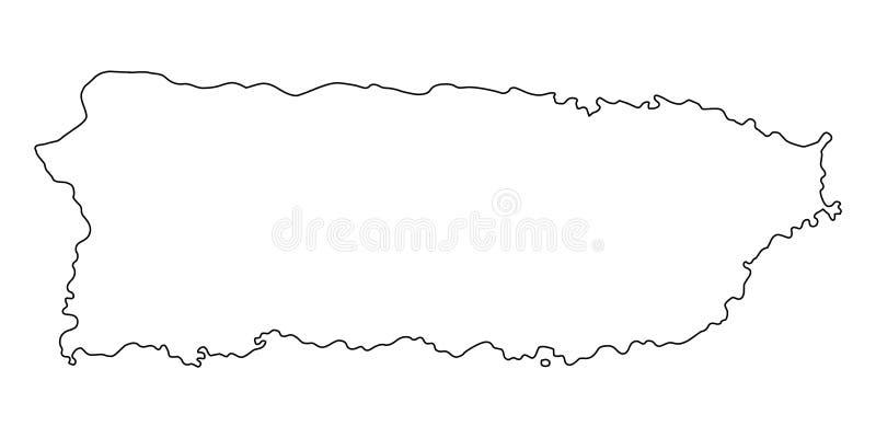 Ilustração do vetor do esboço do mapa de Porto Rico ilustração royalty free