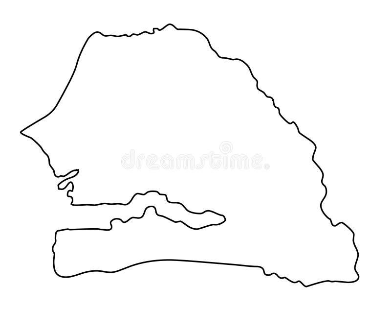 Ilustração do vetor do esboço do mapa de Senegal ilustração stock