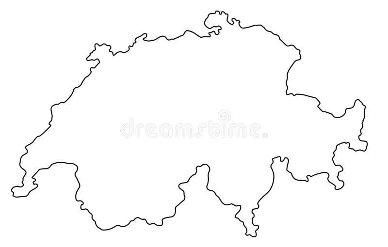 Ilustração do vetor do esboço do mapa de Suíça ilustração royalty free