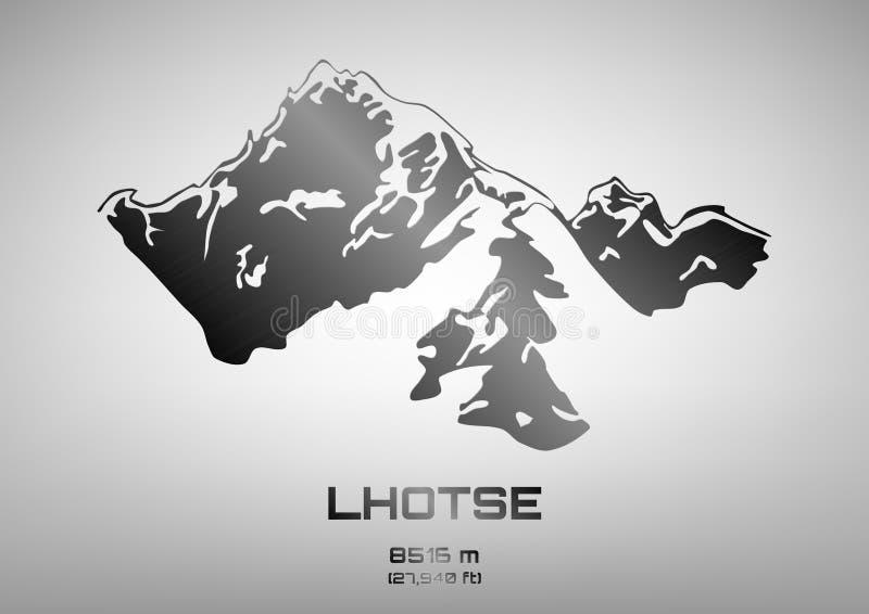 Ilustração do vetor do esboço do Mt de aço lhotse ilustração royalty free