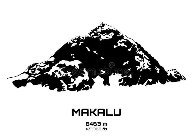 Ilustração do vetor do esboço do Mt Makalu ilustração stock