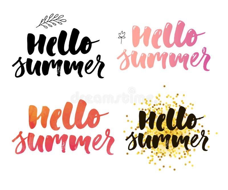 Ilustração do vetor: Escove a rotulação da composição do grupo do verão do slogan das férias de verão olá! ilustração stock