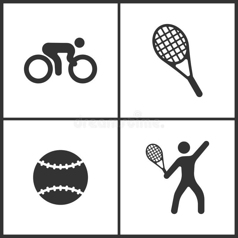 A ilustração do vetor do esporte ajustou ícones Elementos da bola da bicicleta, do tênis, de tênis e do ícone do jogador de tênis ilustração do vetor