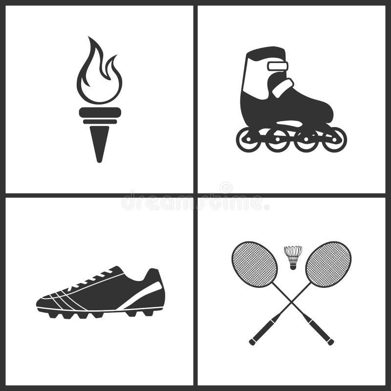 A ilustração do vetor do esporte ajustou ícones Elementos de botas da tocha, do rolo, do futebol e de ícone do badminton ilustração royalty free