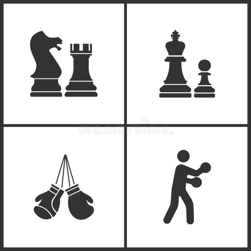 A ilustração do vetor do esporte ajustou ícones Elementos de luvas da xadrez, de encaixotamento e de ícone do encaixotamento ilustração do vetor