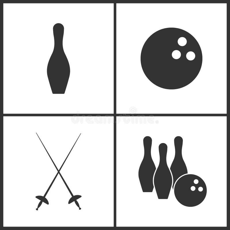 A ilustração do vetor do esporte ajustou ícones Elementos do pino de boliches, do boliches, do Fencings e do ícone de rolamento ilustração royalty free