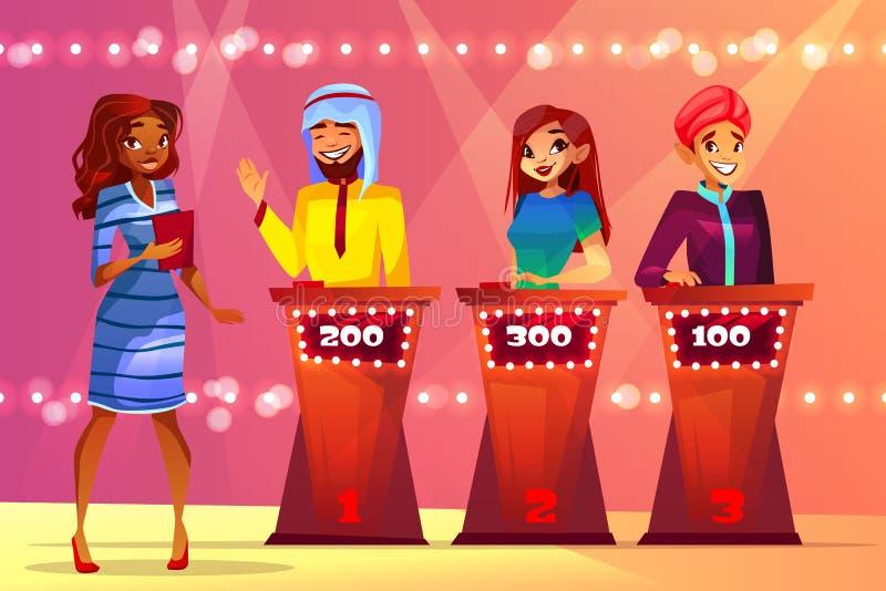 Ilustração do vetor do estúdio do concurso televisivo do questionário ilustração royalty free