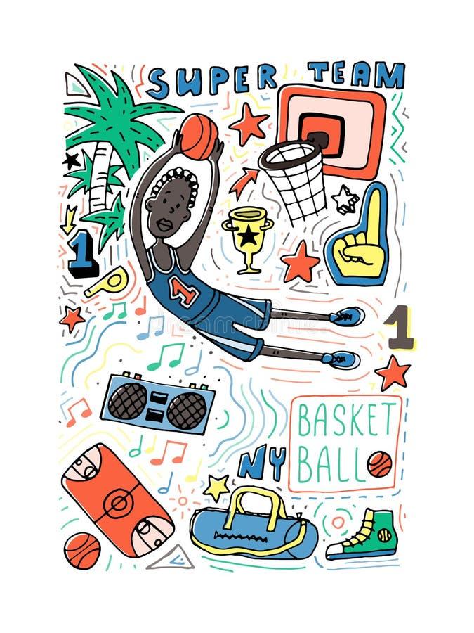 Ilustração do vetor do estilo da garatuja do basquetebol Cartaz, projeto da tampa, colorpage ilustração royalty free