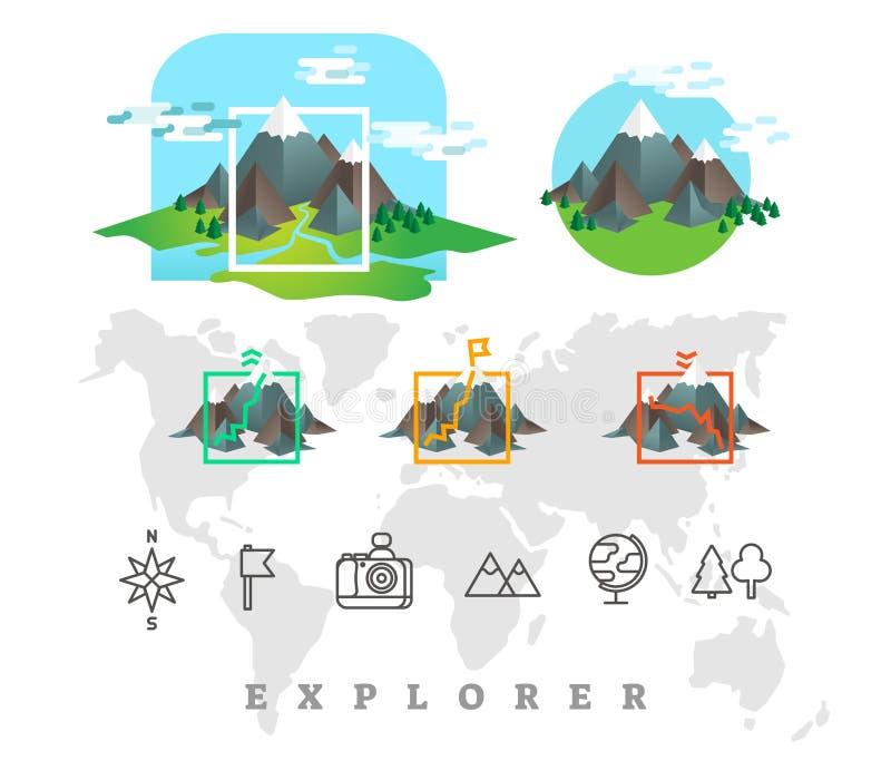 A ilustração do vetor do explorador ajustou-se com montanhas e linha ícones ilustração do vetor