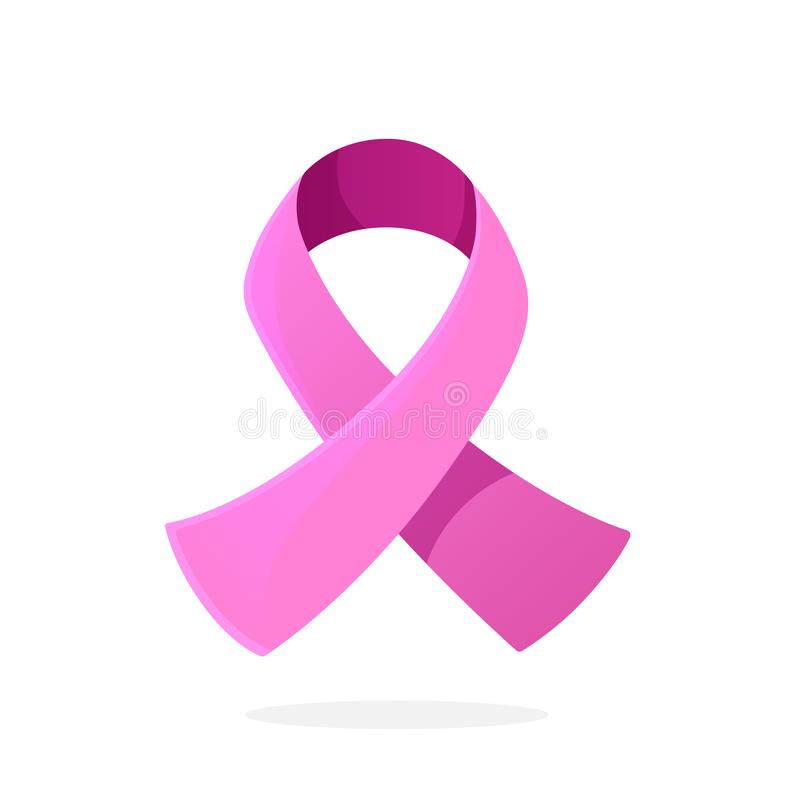 Ilustração do vetor Fita cor-de-rosa, símbolo internacional da conscientização do câncer da mama Sinal do apoio moral para mulher ilustração royalty free