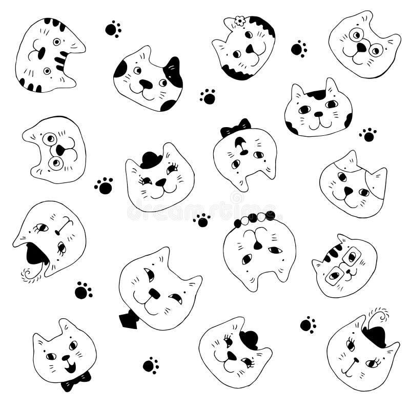 Ilustração do vetor do focinho dos gatos diferentes Rebecca 36 Meninas e meninos, vidros vestindo, borboletas, laços, grânulos ilustração do vetor