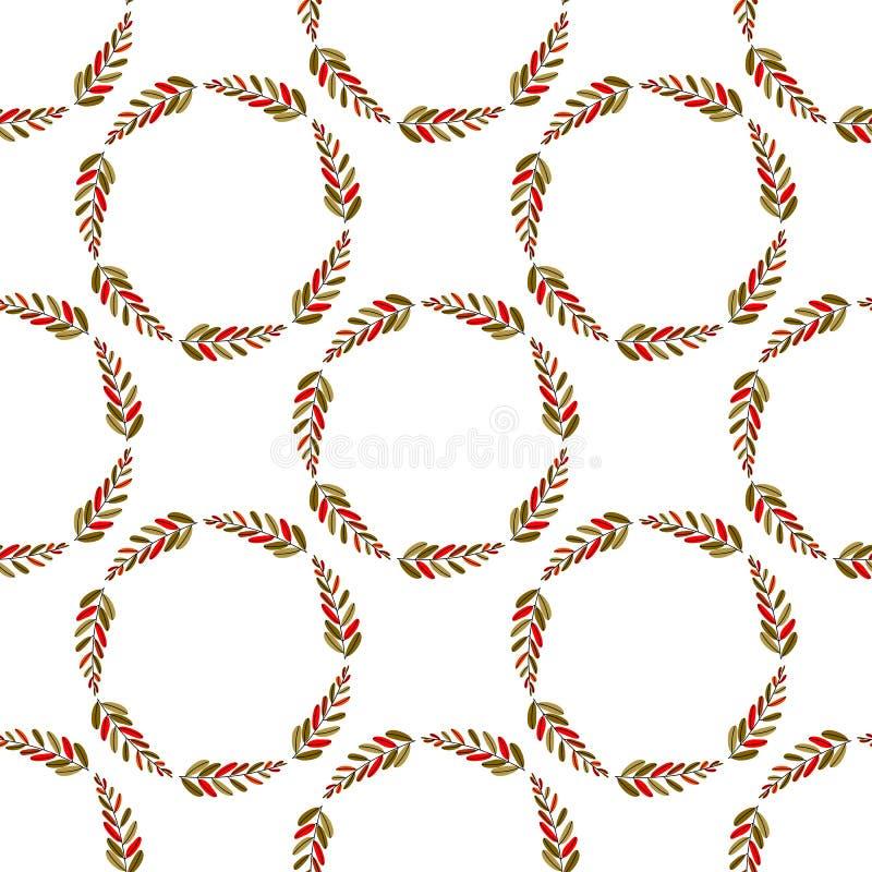 Ilustração do vetor folha lisa colorida da planta ou a flor ou o ramo Projeto floral do quadro da planta da decoração Teste padrã ilustração stock