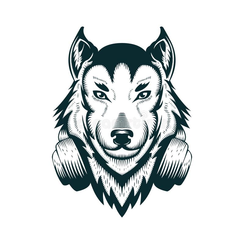 Ilustração do vetor do fones de ouvido do lobo do DJ ilustração stock