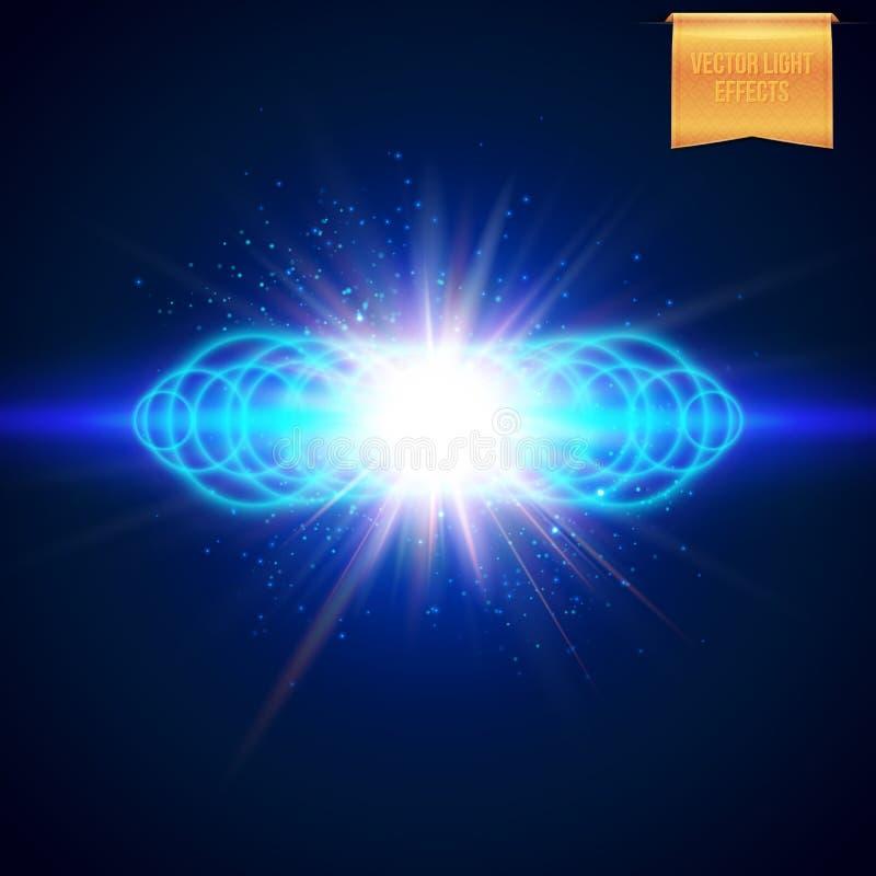 Ilustração do vetor do fundo azul rodeado múltiplo da explosão ilustração do vetor