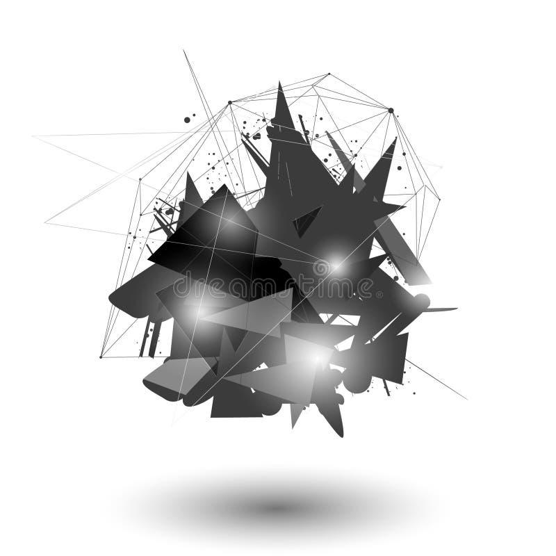 Ilustração do vetor Fundo da geometria do polígono Forma geométrica poligonal abstrata Explosão elemento dimensional da tecnologi ilustração royalty free