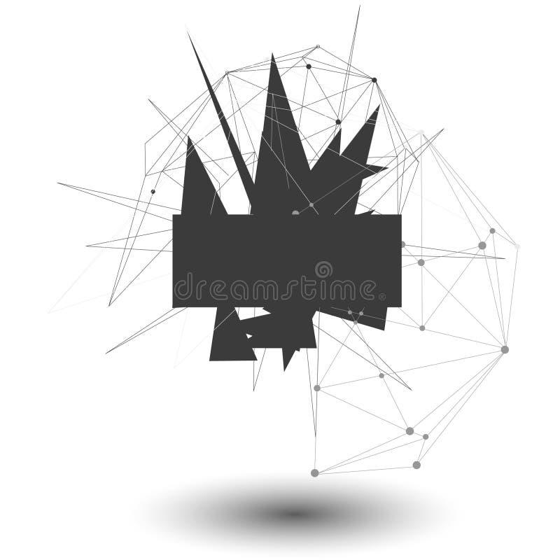 Ilustração do vetor Fundo da geometria do polígono Forma geométrica poligonal abstrata Explosão elemento dimensional da tecnologi ilustração stock