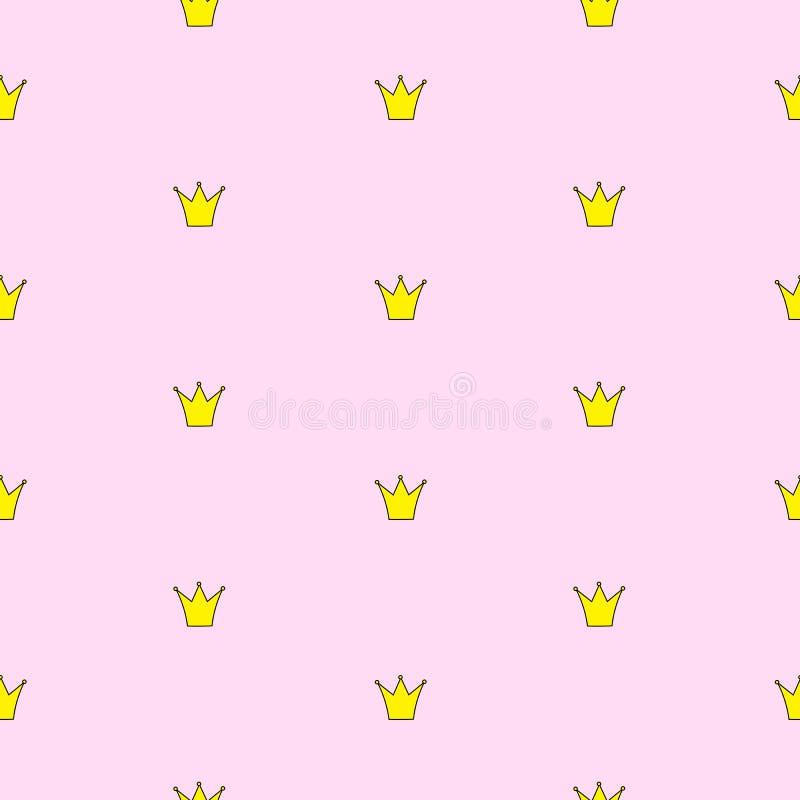 Ilustração do vetor do fundo da princesa Crown Seamless Pattern ilustração royalty free