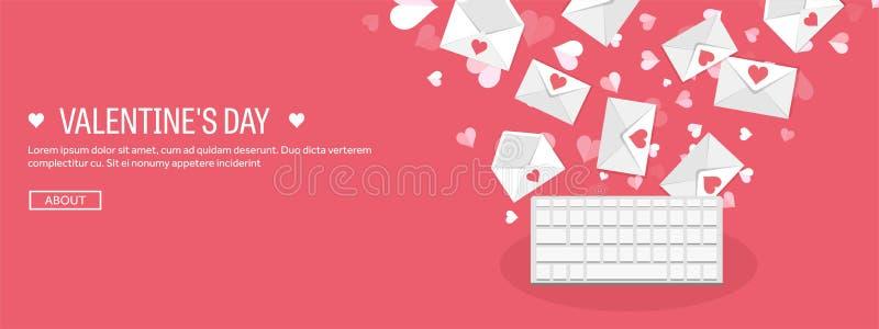 Ilustração do vetor Fundo liso com teclado e envelope Amor, corações Rosa vermelha Seja meu Valentim ilustração royalty free
