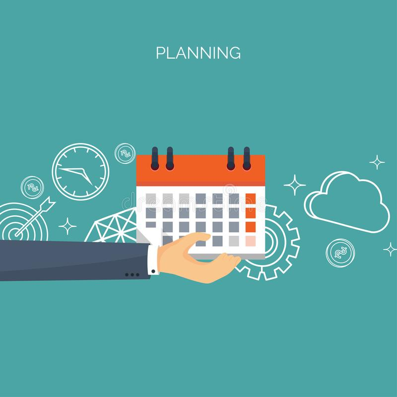 Ilustração do vetor Fundo liso do tempo da data planeamento Gestão de tempo ilustração stock