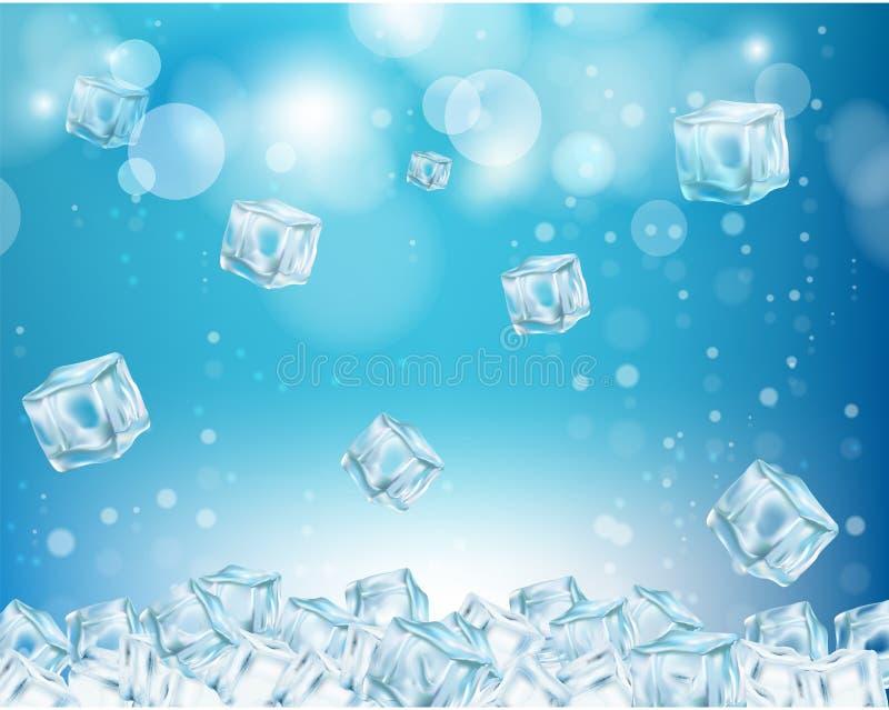 Ilustração do vetor do fundo do sumário do cubo de gelo ilustração royalty free