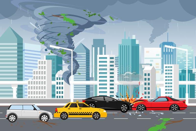 Ilustração do vetor do furacão de roda e da inundação, temporal na cidade moderna grande com arranha-céus Furacão na cidade ilustração do vetor