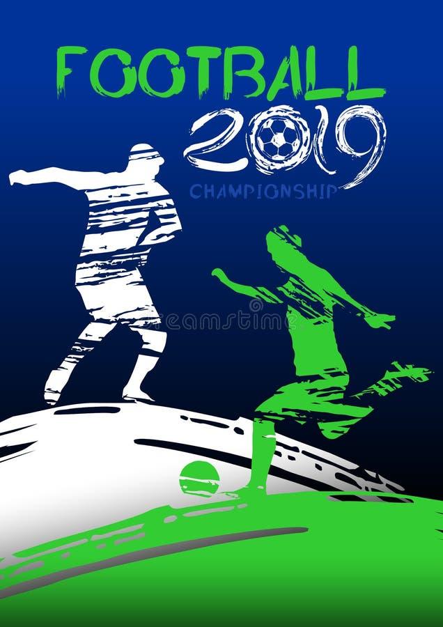 Ilustração do vetor do futebol Silhuetas de jogadores de futebol no campo de futebol no estilo do grunge ilustração do vetor