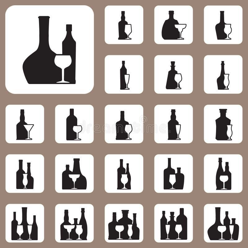 Ilustração do vetor, garrafa de vinho e vidro para o projeto e o Creati ilustração do vetor