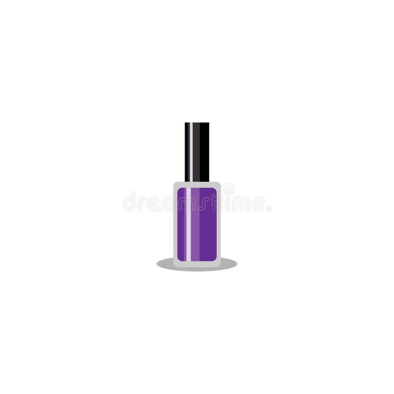 Ilustração do vetor Garrafa violeta do verniz para as unhas com o tampão preto isolado no fundo branco EPS10 ilustração do vetor