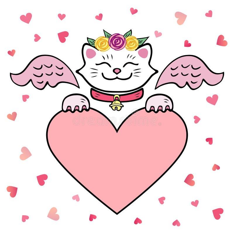 Ilustração do vetor, gato branco com asas cor-de-rosa e coração ilustração royalty free
