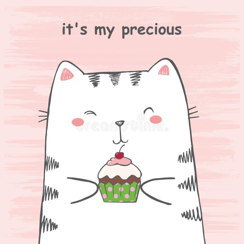 A ilustração do vetor do gato branco tirado mão dos desenhos animados do esboço abraça o queque no fundo cor-de-rosa riscado do g ilustração do vetor