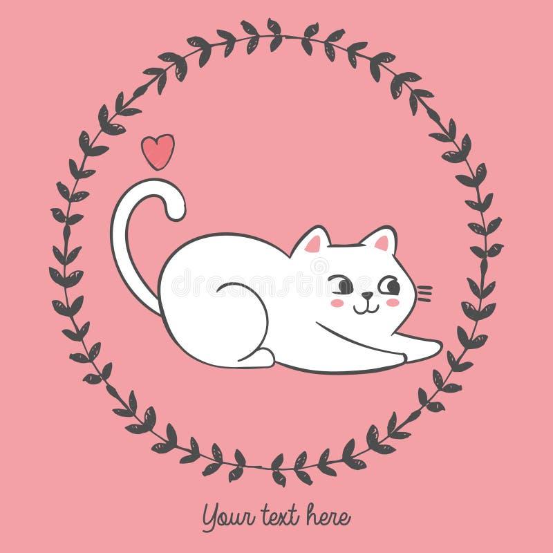 Ilustração do vetor do gato tirado mão dentro do quadro floral redondo com coração, personagem de banda desenhada, ilustração royalty free