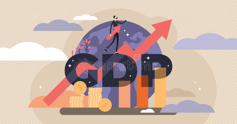 Ilustração do vetor do GDP Conceito minúsculo das pessoas com produtos internos brutos - GDP ilustração do vetor
