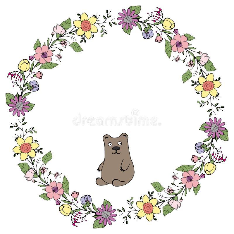 Ilustração do vetor Grinalda das flores e das folhas verdes com um urso feriado A imagem isolada em um fundo branco ilustração do vetor