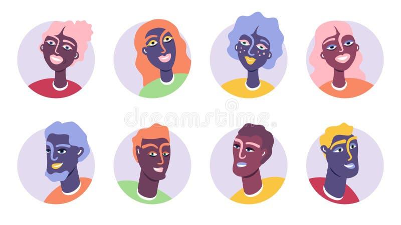 Ilustração do vetor do grupo do ícone do Avatar dos jovens ilustração royalty free
