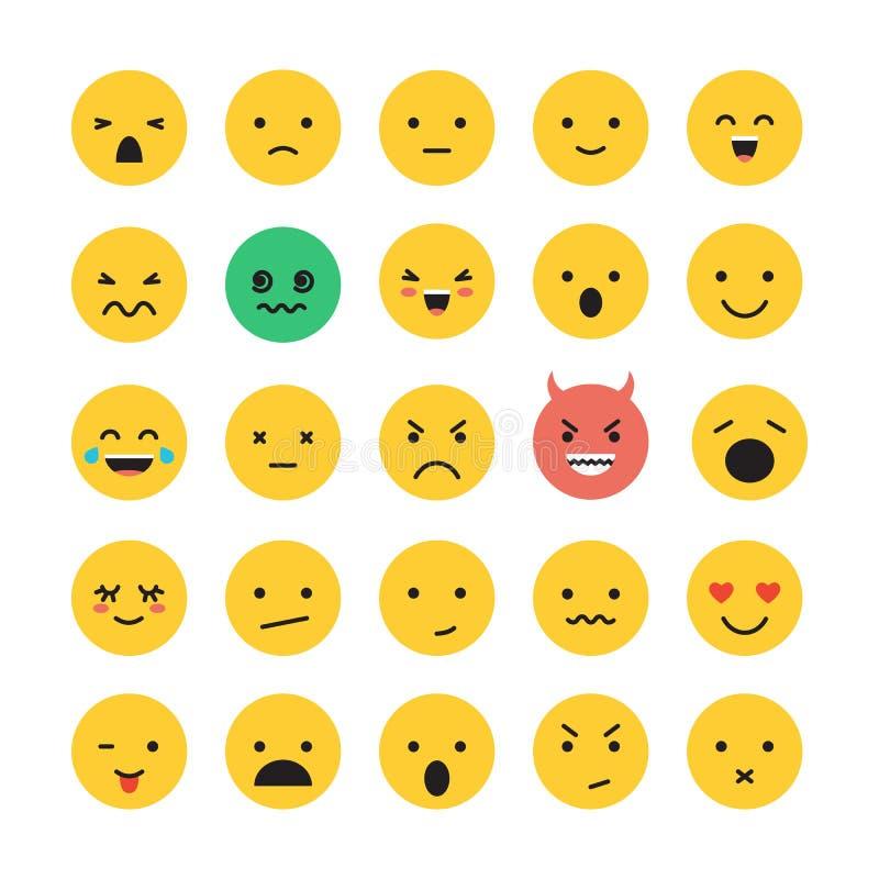 Ilustração do vetor do grupo do ícone da cara do sorriso do Emoticon isolada no branco ilustração do vetor